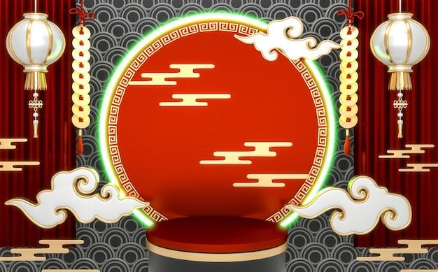 O pódio vermelho japonês mostra produtos cosméticos no estilo geométrico do japão. renderização 3d