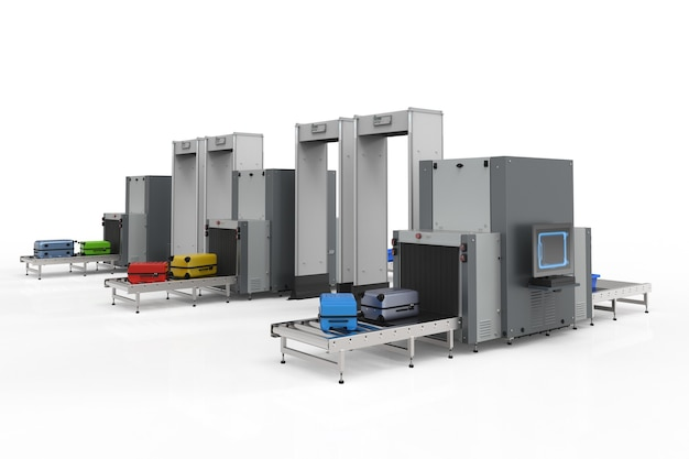 O ponto de verificação de segurança do aeroporto com renderização em 3d com máquinas de varredura está examinando bagagens