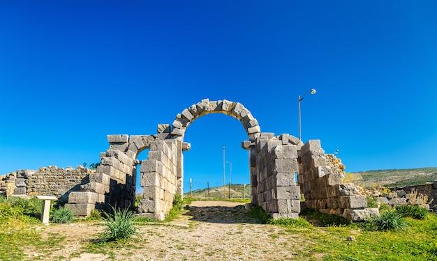 O portão tingis em volubilis, um patrimônio mundial em marrocos