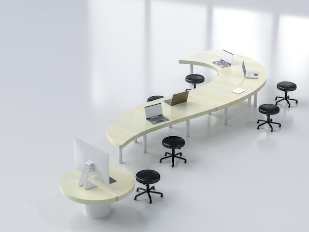 O portátil na mesa do trabalho no local de trabalho com espaço da cópia para seu texto, 3d rende.