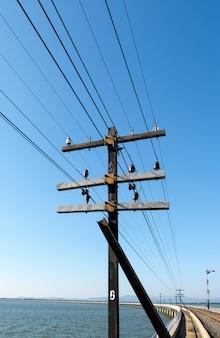 O poste metálico do sistema da rede telegráfica sobre a ponte de concreto no reservatório, para a comunicação entre a estação ferroviária, vista frontal para o espaço da cópia.