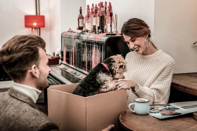O presente para a alma gêmea. o homem trazendo um cachorro como presente para sua parceira