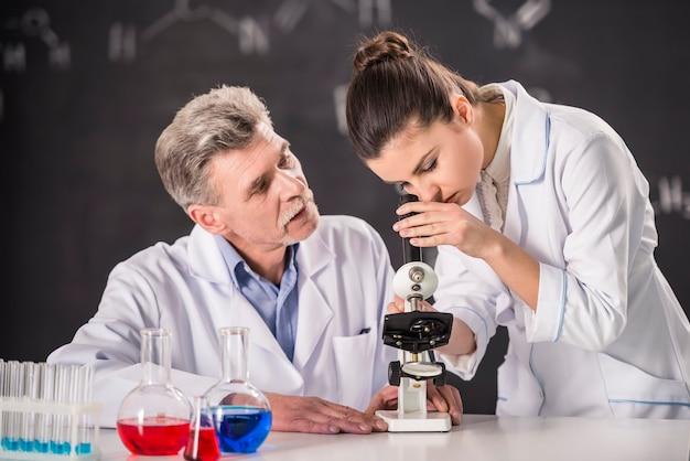 O professor dá uma olhada de amaranto no microscópio.