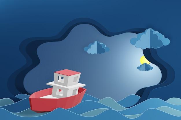 O projeto da rendição 3d, barco está navegando no mar sob a luz de lua.