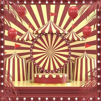 O projeto geométrico abstrato do carnaval da forma para o pódio 3d da exposição do cosmético ou do produto rende.