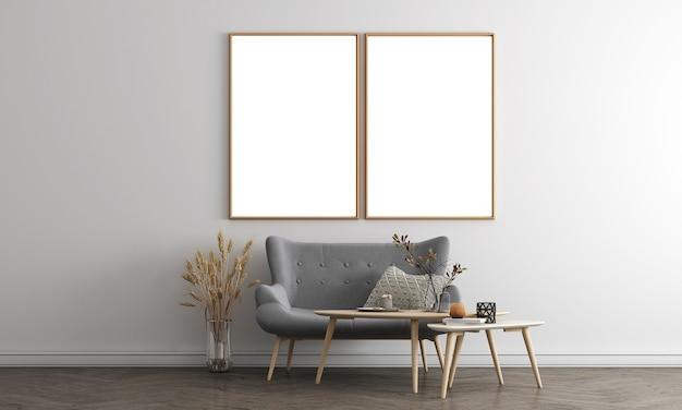 O quadro de tela mock up e design de móveis em interior moderno e fundo bege de parede, sala de estar, estilo escandinavo, renderização 3d, ilustração 3d