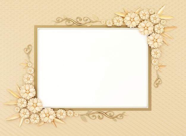 O quadro pastel da beira do cartão vazio da configuração do plano do objeto com decoração da flor, 3d rende.