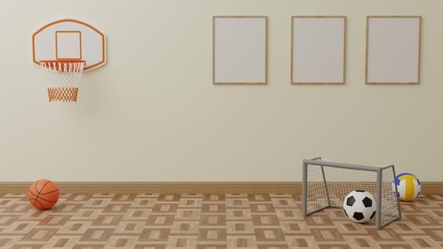 O quarto das crianças tem uma cesta de basquete. e a bola de futebol na frente existem 3 quadros na parede traseira.