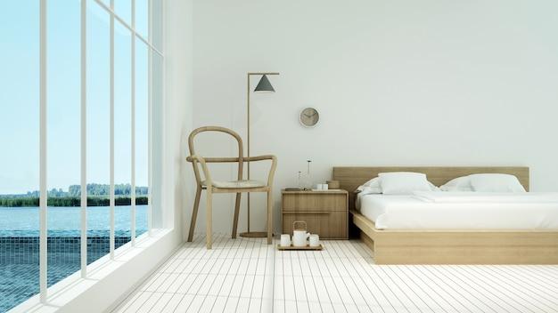 O quarto interior do hotel mínimo piscina natação renderização em 3d e natureza vista