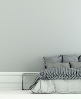 O quarto moderno e simulação de decoração de móveis e fundo de parede branco