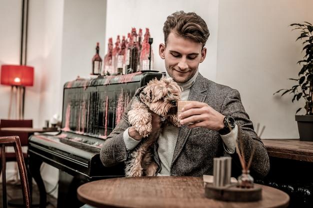 O que o oner bebe. o pequeno terrier cheirando o café de seus donos