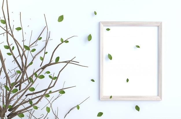 O ramo de árvore e o sopro saem na parede do cimento branco com a moldura para retrato. fundo 3d render.