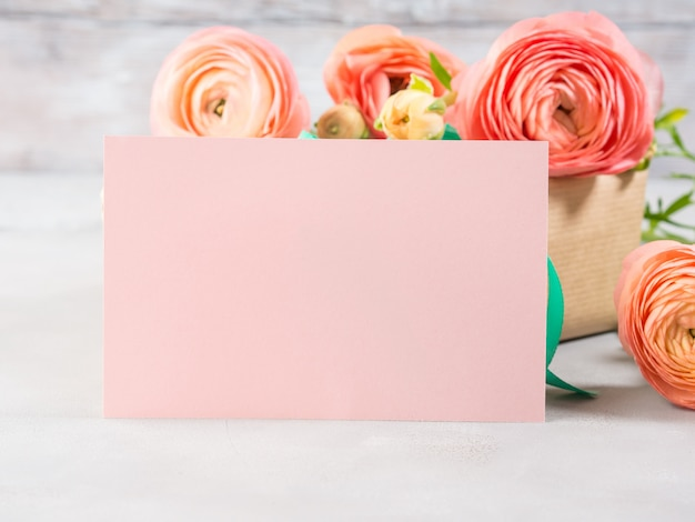 O ranúnculo cor-de-rosa bonito floresce o ramalhete e a caixa de presente. dia das mães dos namorados. cartão de presente de aniversário de casamento