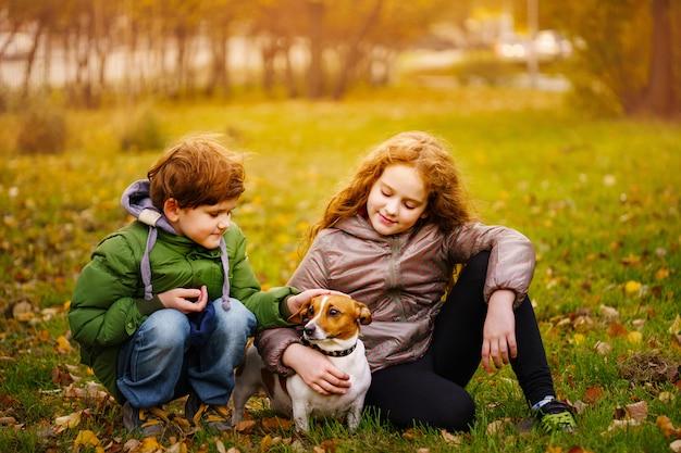 O rapaz pequeno e a menina com seu filhote de cachorro jack russell no outono ao ar livre.