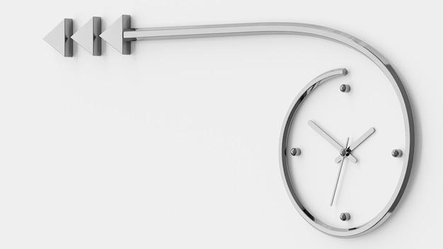 O relógio se assemelha a uma flecha de metal. 3d render.
