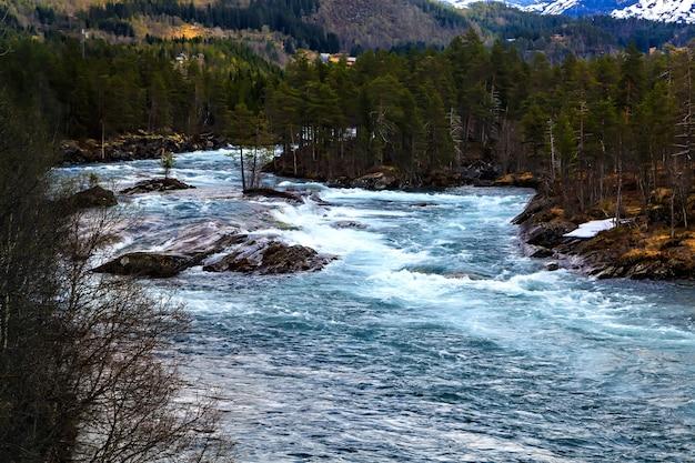 O rio da montanha, fiorde e floresta, noruega, norte