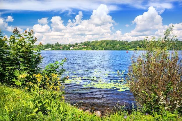 O rio volga de cor azul com nenúfares na água na cidade de plyos e grama verde na margem