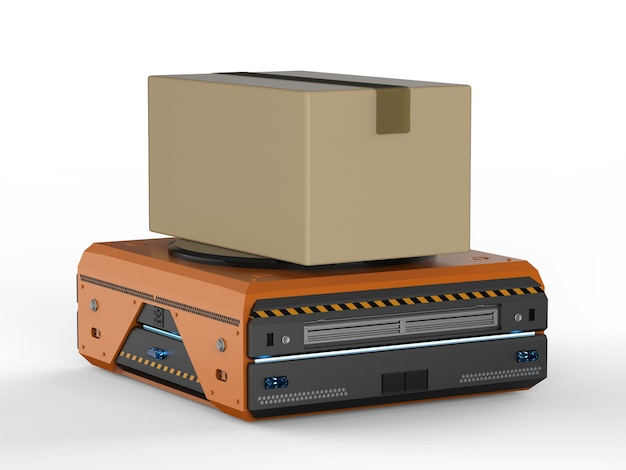 O robô do armazém de renderização 3d carrega a caixa de papelão