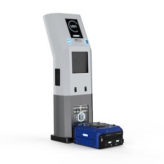 O robô do armazém de renderização 3d carrega com a estação de carga elétrica