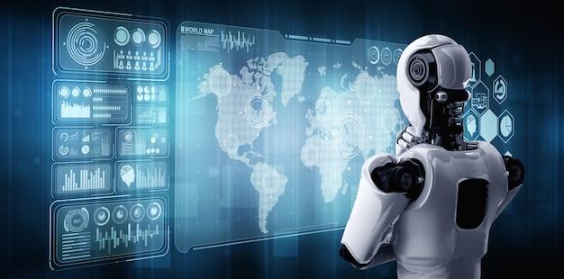 O robô humanóide pensando ai analisando a tela do holograma mostra o conceito de rede