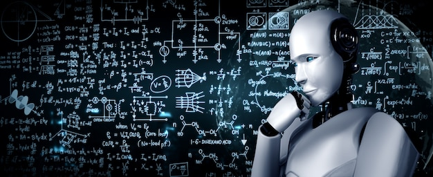 O robô humanoide thinking ai analisando a tela de fórmula matemática e equação científica