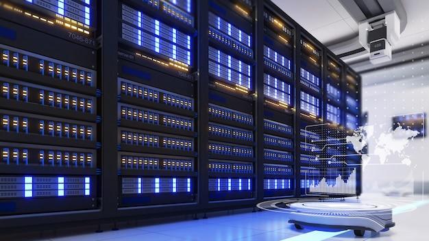 O robô móvel explora a sala do servidor e processa os dados enviados ao redor da sala do servidor mundial