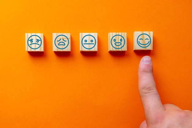 O rosto feliz e sorridente, a avaliação do atendimento ao cliente e a ideia da pesquisa de satisfação foram escolhidos pelo cliente.
