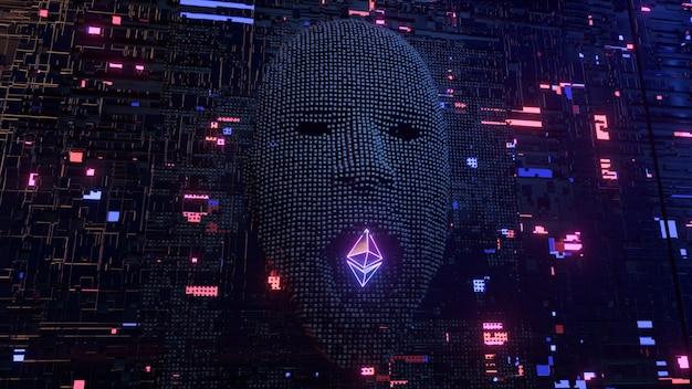 O rosto humano na sala do servidor emerge dos pixels e come o símbolo da moeda ethereum. inteligência artificial e conceito de desenvolvimento de criptomoeda. ilustração 3d