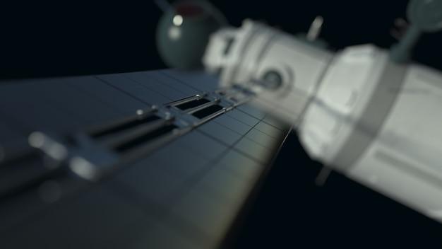 O satélite global de comunicação do sistema de satélite voa no espaço espacial