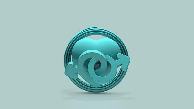 O símbolo das relações masculinas renderização 3d