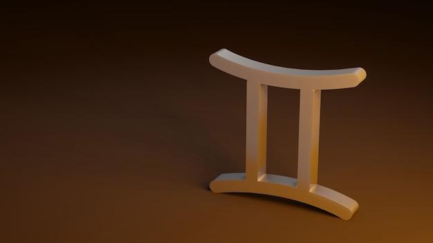 O símbolo do zodíaco gemini assina renderização 3d