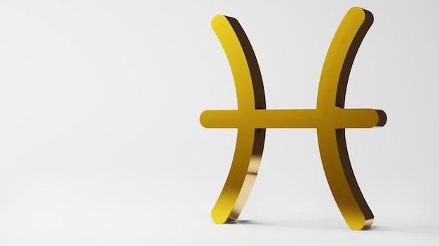 O símbolo do zodíaco pisces assina ouro em fundo branco. renderização 3d