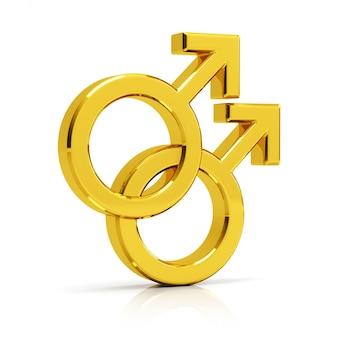 O símbolo gay 3d rende. dourado símbolo gay isolado no fundo branco.