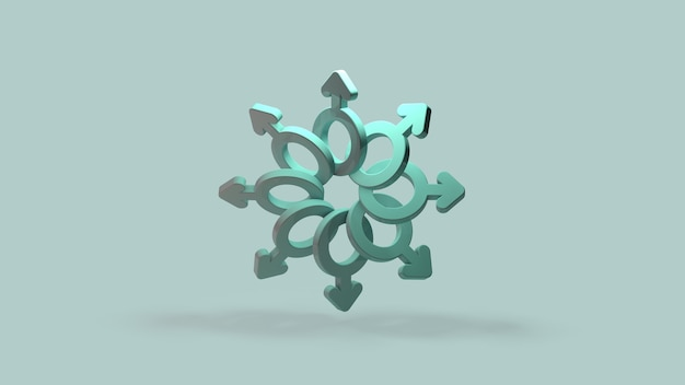 O símbolo masculino renderização 3d