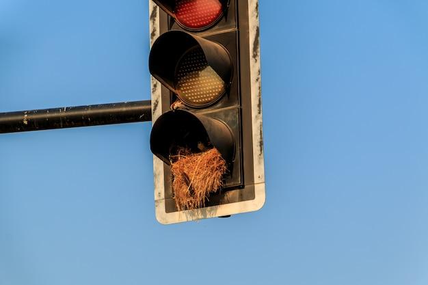 O sinal velho vermelho amarelo verde do sinal combinou a bicicleta e o sinal pedestre em tailândia.