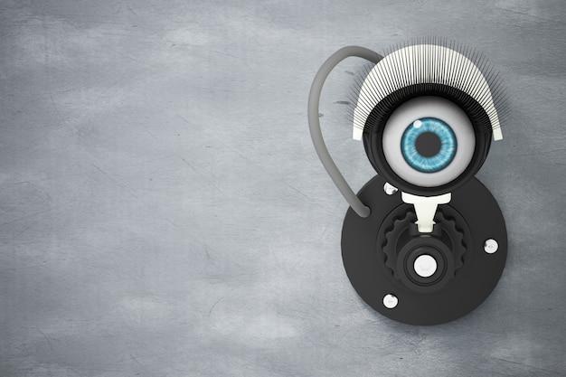 O sistema de cftv branco instalado na parede de cimento com os olhos em vez da lente da câmera