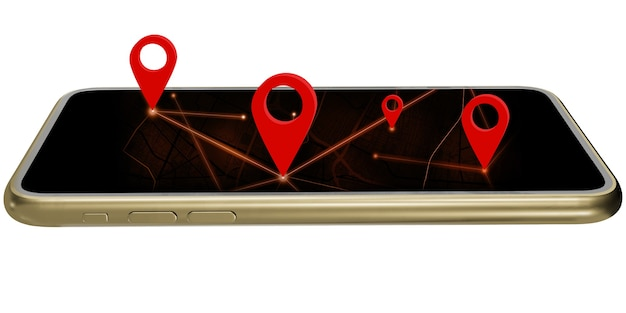 O smartphone fornece as coordenadas no aplicativo de mapa. o pino vermelho define as coordenadas de navegação gps. com trajeto de grampeamento