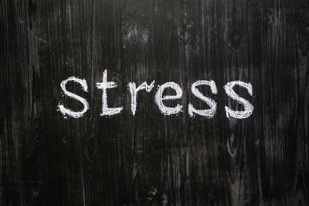 O stress da palavra escrito no quadro-negro