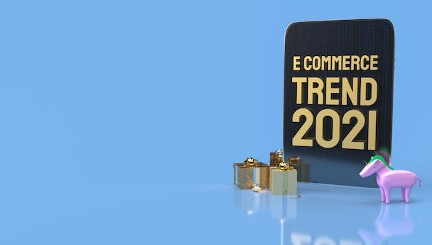 O tablet frontal de comércio eletrônico de ouro para renderização 3d de marketing online.