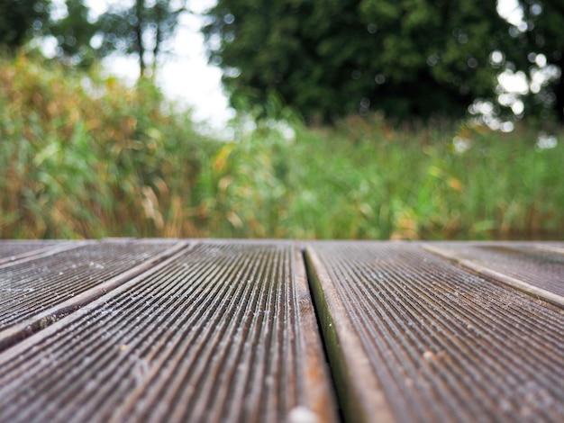 O tampo da mesa de madeira no fundo verde natural abstrato do bokeh,