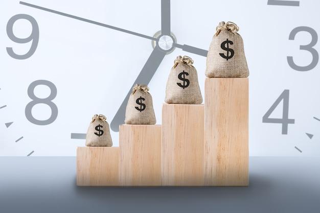 O tempo é o conceito de dinheiro, negócios e finanças.