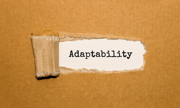 O texto adaptabilidade aparecendo atrás de papel pardo rasgado