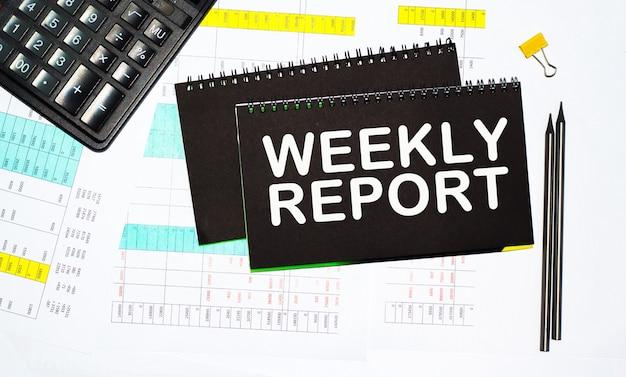 O texto do relatório semanal, a calculadora e a caneta estão na área de trabalho. calculadora e caneta. conceito de negócios.