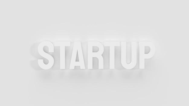 O texto em branco de inicialização para renderização em 3d de conceito de negócio