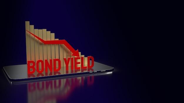 O título gera a palavra em vermelho e o gráfico de fundo de seta para baixo para renderização em 3d de conteúdo empresarial