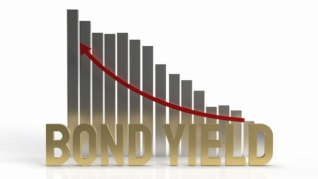 O título rendeu a palavra de ouro e a seta do gráfico para cima para renderização em 3d de conteúdo empresarial