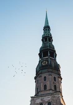 O topo de uma torre do relógio com topo verde e pássaros voando ao lado