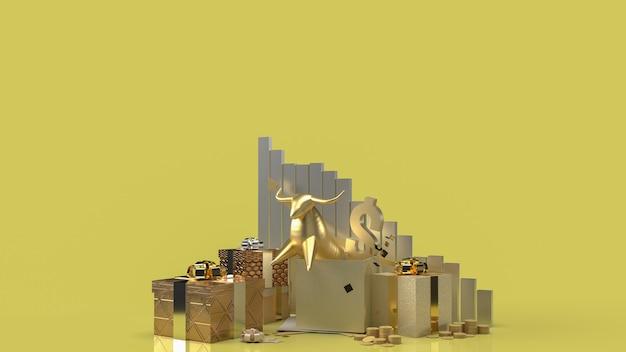 O touro dourado em uma caixa de presente surpresa para renderização em 3d de conteúdo empresarial