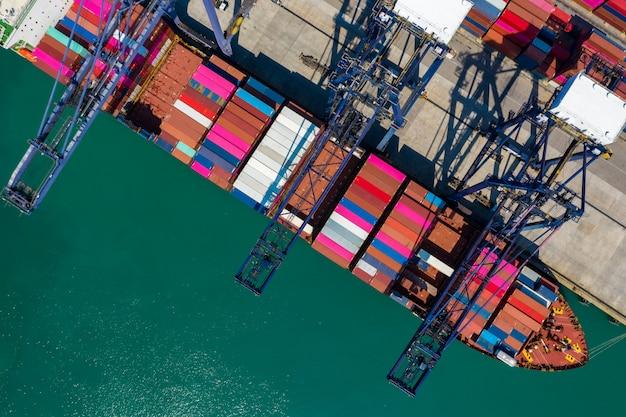O transporte contém e as empresas portuárias de serviços marítimos internacionais da indústria de serviços