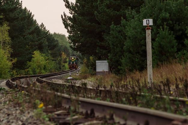 O trem passa por trilhos para virar em matagais densos. ferrovia torcida na floresta escura. torções da locomotiva. paisagem ferroviária de escuridão atmosférica.